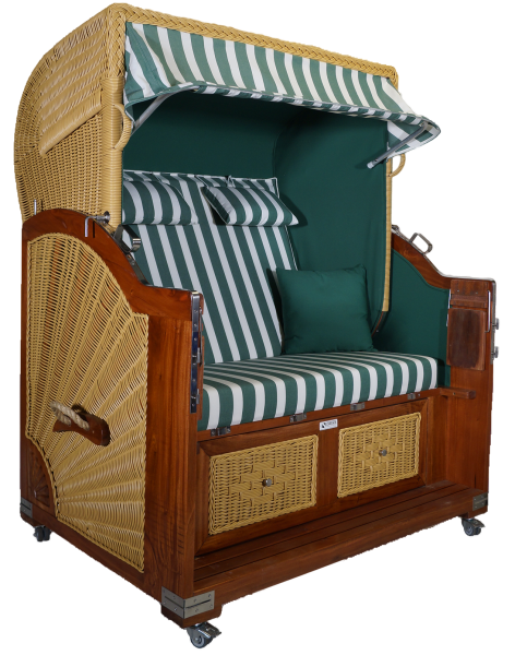Strandkorb Mahagoni XL grün / weiß 2½ Sitzer