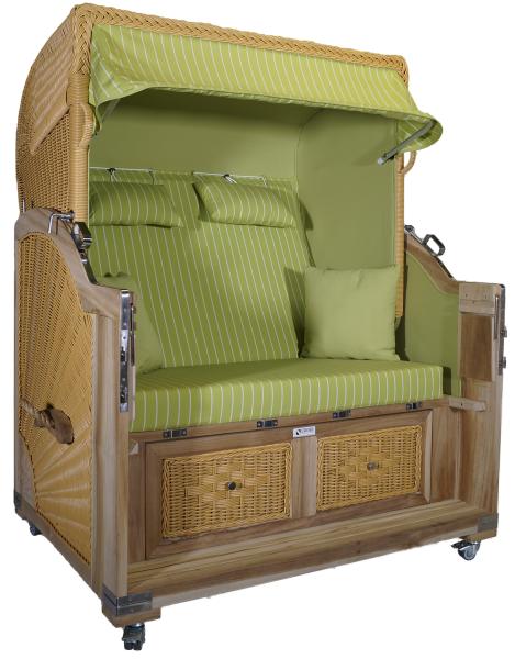 Strandkorb Teak XL grün / nadelstreifen weiß 2½ Sitzer