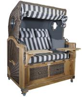 Strandkorb Teak XL grau / weiß 2½ Sitzer