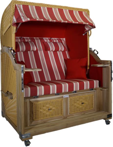 Strandkorb Teak XL rot /weiß Multistreifen 2½ Sitzer