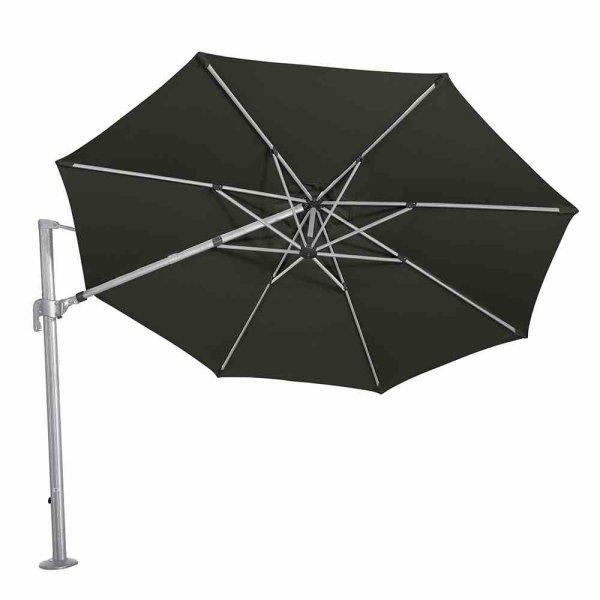 Alphawing N+ Ampelschirm silber/schwarz meliert Ø 350cm Gestell Alu silber, Bezug 100% Polyester, 240g/m² in schwarz meliert, spinndüsengefärbt, UPF 50+