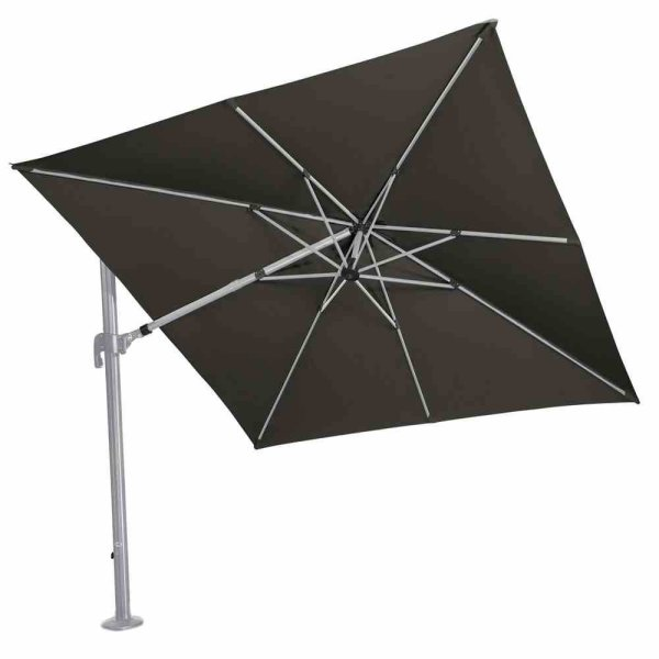 Alphawing N+ Ampelschirm silber/schwarz 3m x 3m Gestell Alu silber, Bezug 100% Polyester, 240g/m² in schwarz meliert, spinndüsengefärbt, UPF 50+