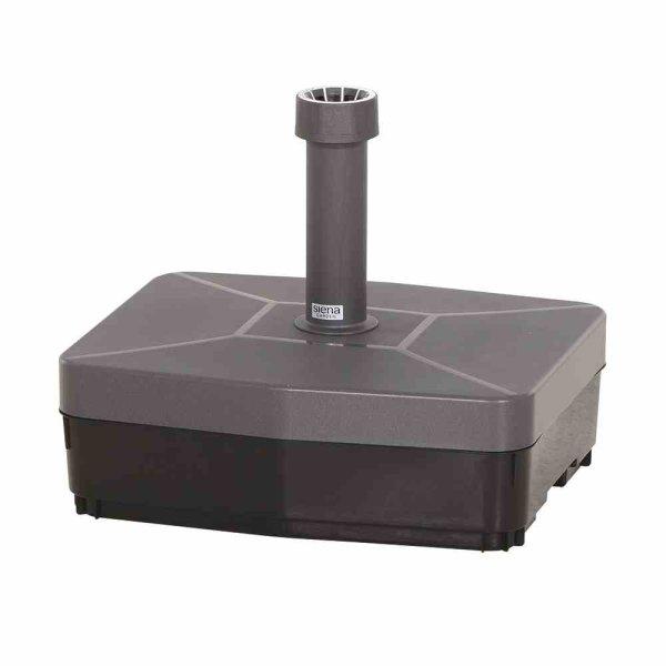 Schirmständer 45 kg eckig Kunststoffrohr 21-54 mm, mit Rollen und Handmulden, füllbar mit Sand