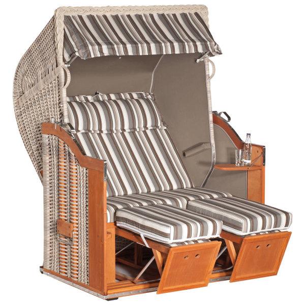 """Gartenstrandkorb """"Classic"""" 2-Sitzer, Halbliegemodell Kunststoffgeflecht antik-weiß, Stoff Vito"""
