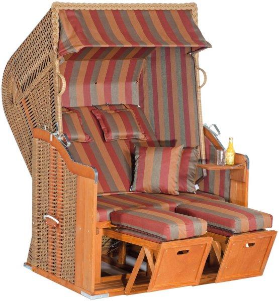 "Gartenstrandkorb ""Rustikal 250 PLUS"" 2-Sitzer, Halbliegemodell  Kunststoffgeflecht marone"