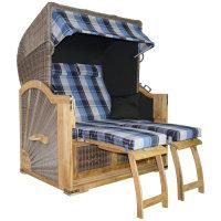 Strandkorb Teak XL blau kariert 2½ Sitzer