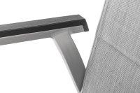 BasicPlus Padded Stapelsessel, silber/hellgrau, Alu/Textilene, stapelbar