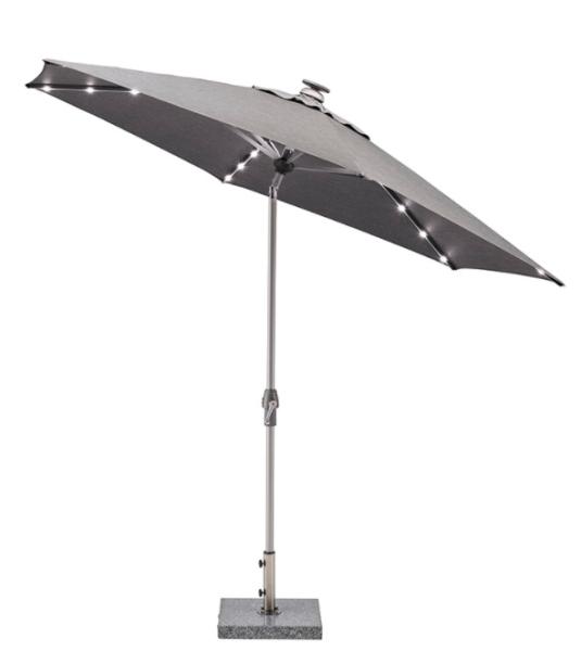 EASY ALLROUND LED Kurbelschirm Ø 300 cm mit PU-Beschichtung silber/ charcoal