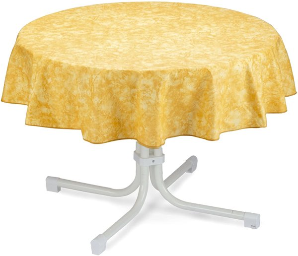 Tischdecke rund 130cm gelb-marmoriert