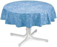 Tischdecke rund 130cm blau-marmoriert