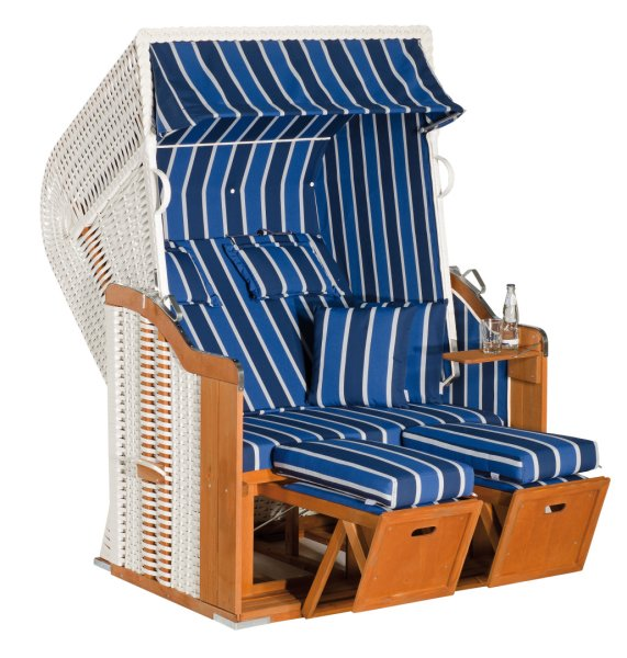 """Gartenstrandkorb """"Rustikal 250 PLUS""""  2-Sitzer, Halbliegemodell  Kunststoffgeflecht weiß"""