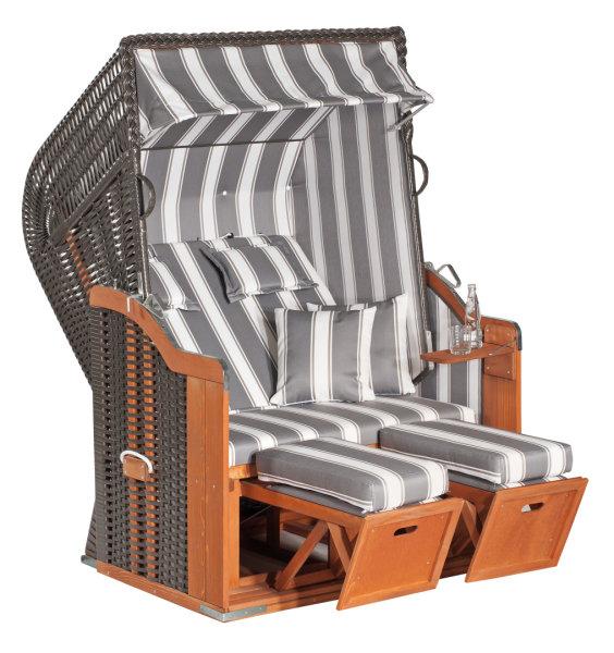 "Gartenstrandkorb ""Rustikal 250 PLUS"" 2-Sitzer, Halbliegemodell Kunststoffgeflecht anthrazit"