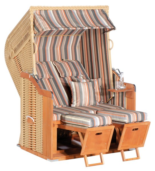 "Gartenstrandkorb ""Rustikal 250 PLUS"" 2-Sitzer, Halbliegemodell Kunststoffgeflecht beige"