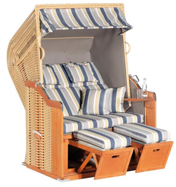 "Gartenstrandkorb ""Rustikal 255 PLUS""  2-Sitzer, Halbliegemodell  Kunststoffgeflecht beige"