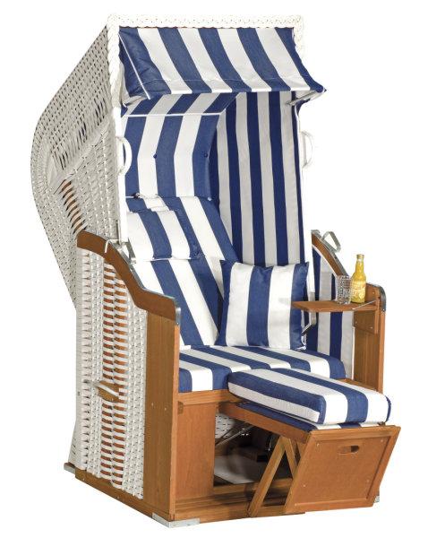 """Gartenstrandkorb """"Rustikal 250 Plus"""" 1-Sitzer, Halbliegemodell  Kunststoffgeflecht weiß"""