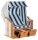 "Gartenstrandkorb ""Rustikal 250 BASIC"" 2-Sitzer, Halbliegemodell Kunststoffgeflecht weiß PVC Stoff 630"