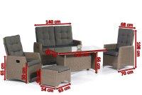 "Lounge-Comfort-Gruppe ""Roseville"" 2 Sessel, 1 Sofa, 1 Hocker, 1 Dining-Tisch Aluminiumgestell /  Kunststoffgeflecht grey-white  incl. Kissen, verstellbare Rückenlehnen"