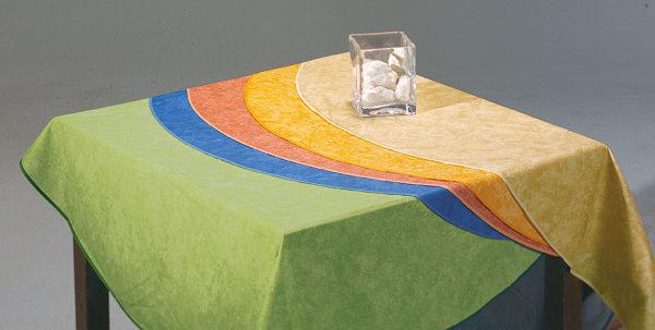 Tischdecke oval 210x160cm blau-marmoriert
