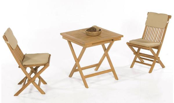 """Gartenmöbel-Set """"Bristol"""" 2 Klappstühle inkl. Kissen natur, 1 Klapptisch 70x70 cm, Teakholz"""