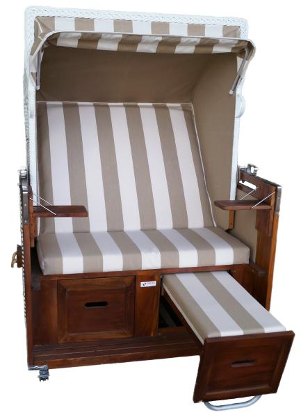 Strandkorb Mahagoni Nordsee braun / weiß 2 Sitzer