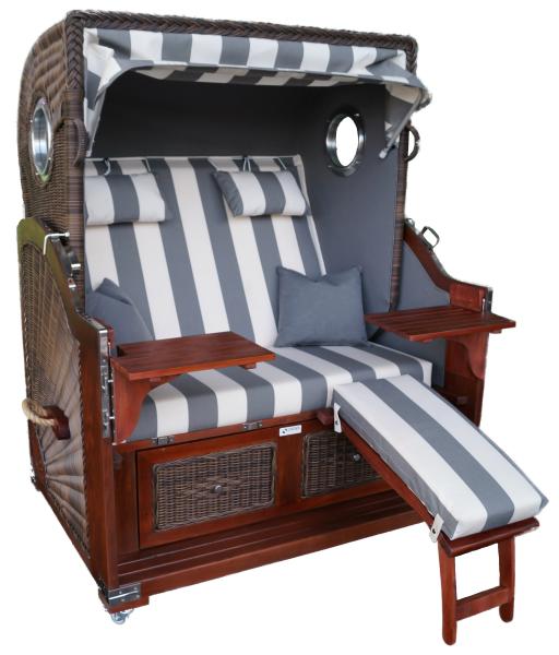 Strandkorb Mahagoni XL grau / weiß 2½ Sitzer