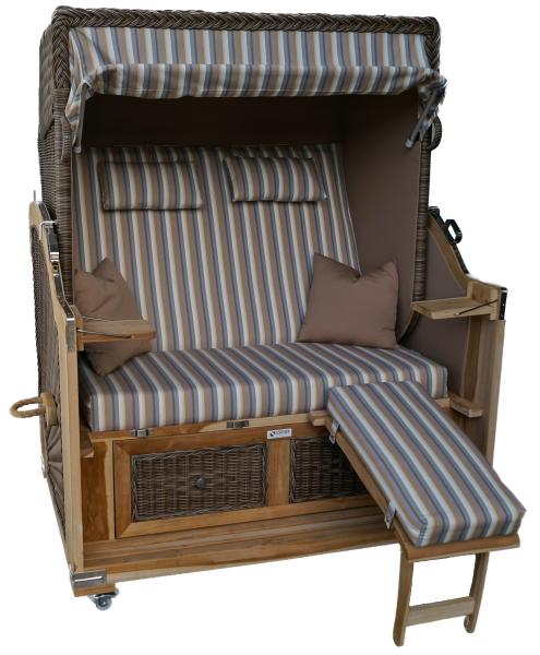 Strandkorb Teak XL kaffee / grau / weißgrau 2½ Sitzer