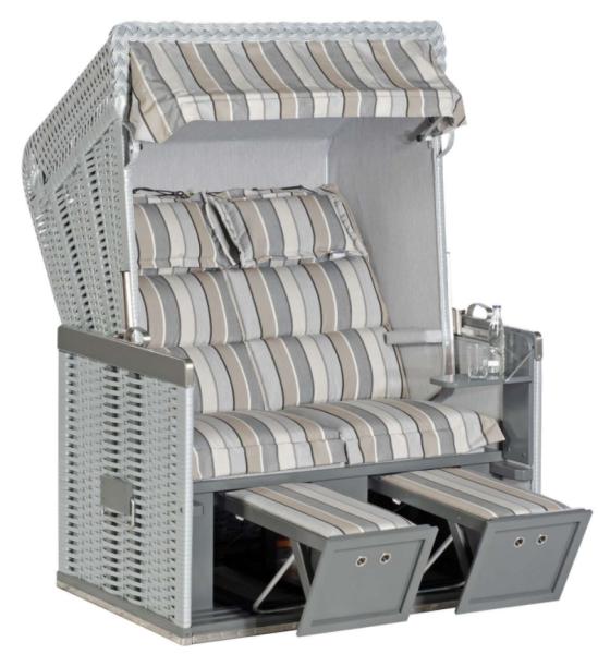 "Gartenstrandkorb ""Konsul"" 2-Sitzer, Halbliegemodell  Kunststoffgeflecht silber *Sondermodell 2021*"